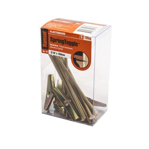 """Ramset 3/16"""" x 100mm Round Head Spring Toggle - 10 Pack"""