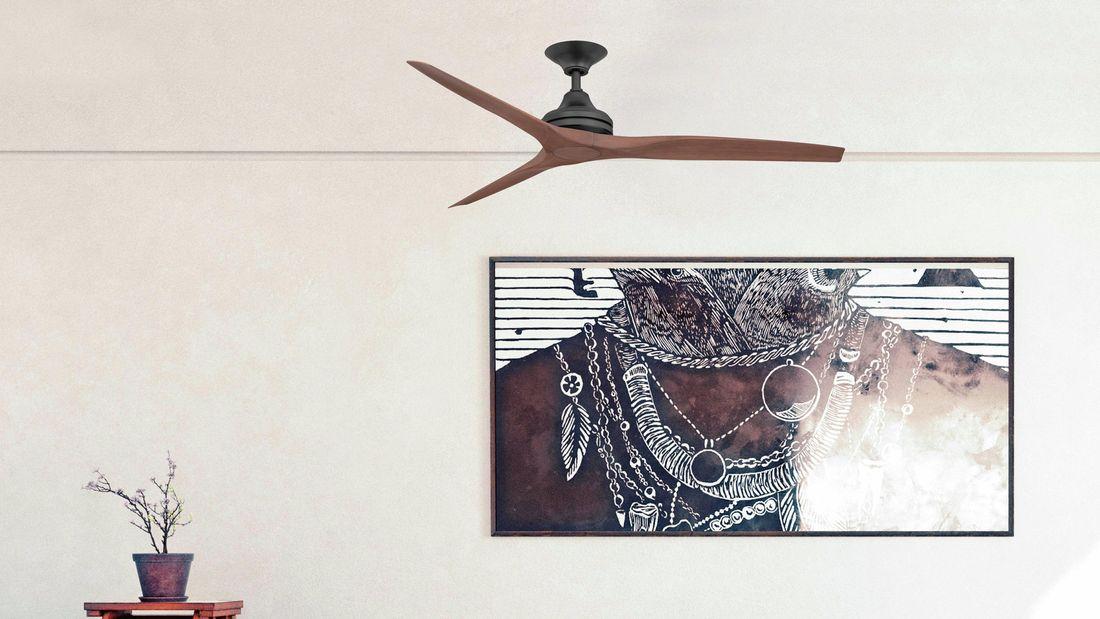 Modern ceiling fan with dark wooden blades.