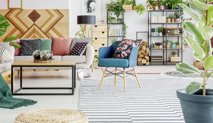 Living Room - Couch - Plant - Coffee table - Rug - Book case - Pendant light