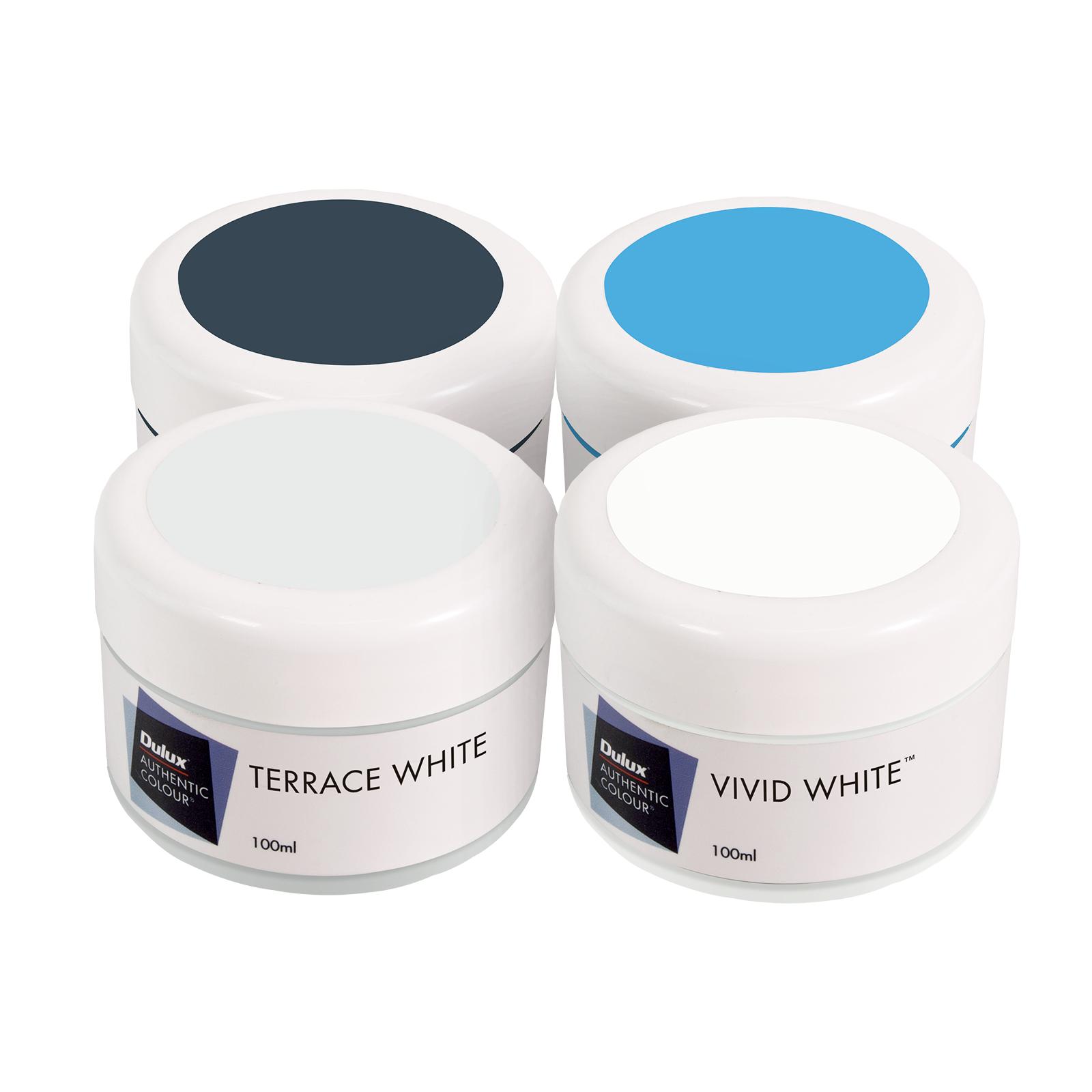 Dulux 100ml Terrace White Scheme External Sample Pot - 4 Pack