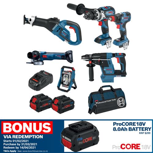 Bosch Blue 18V 8.0Ah 6 Piece ProCore Combo Kit