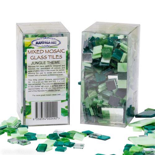 Mandala Art 500g Assorted Size Jungle Theme Mosaic Glass Tiles
