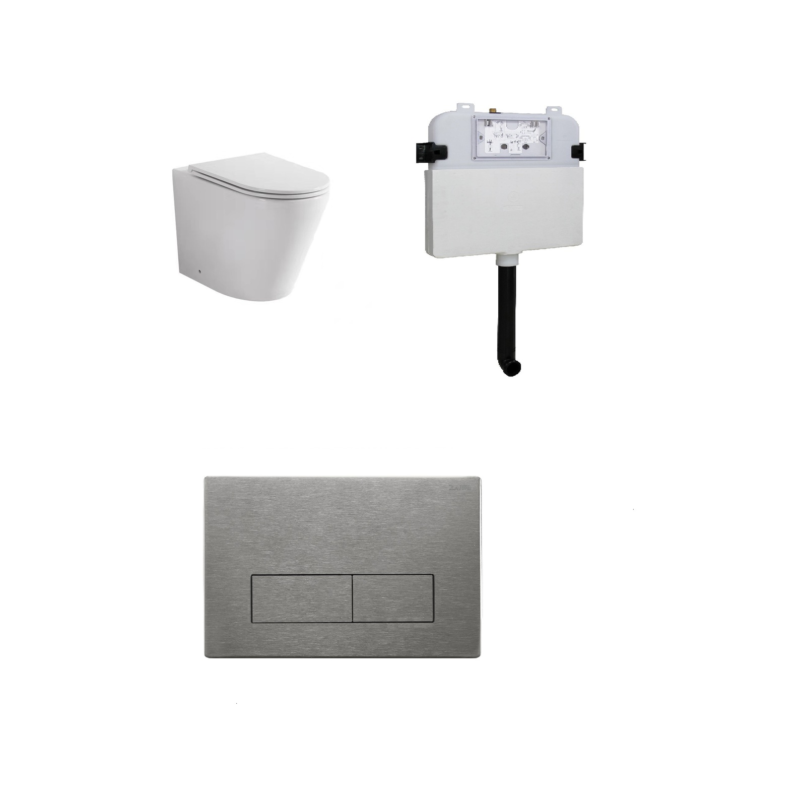 Zumi Java Concealed Cistern With Square Stainless Steel Brushed Nickel Flush Plates And Pan