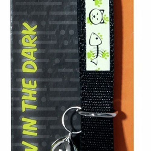 Glow In The Dark Cat Collar Nylon Black - 15cm-22.5cm x 10mm (Pet One)