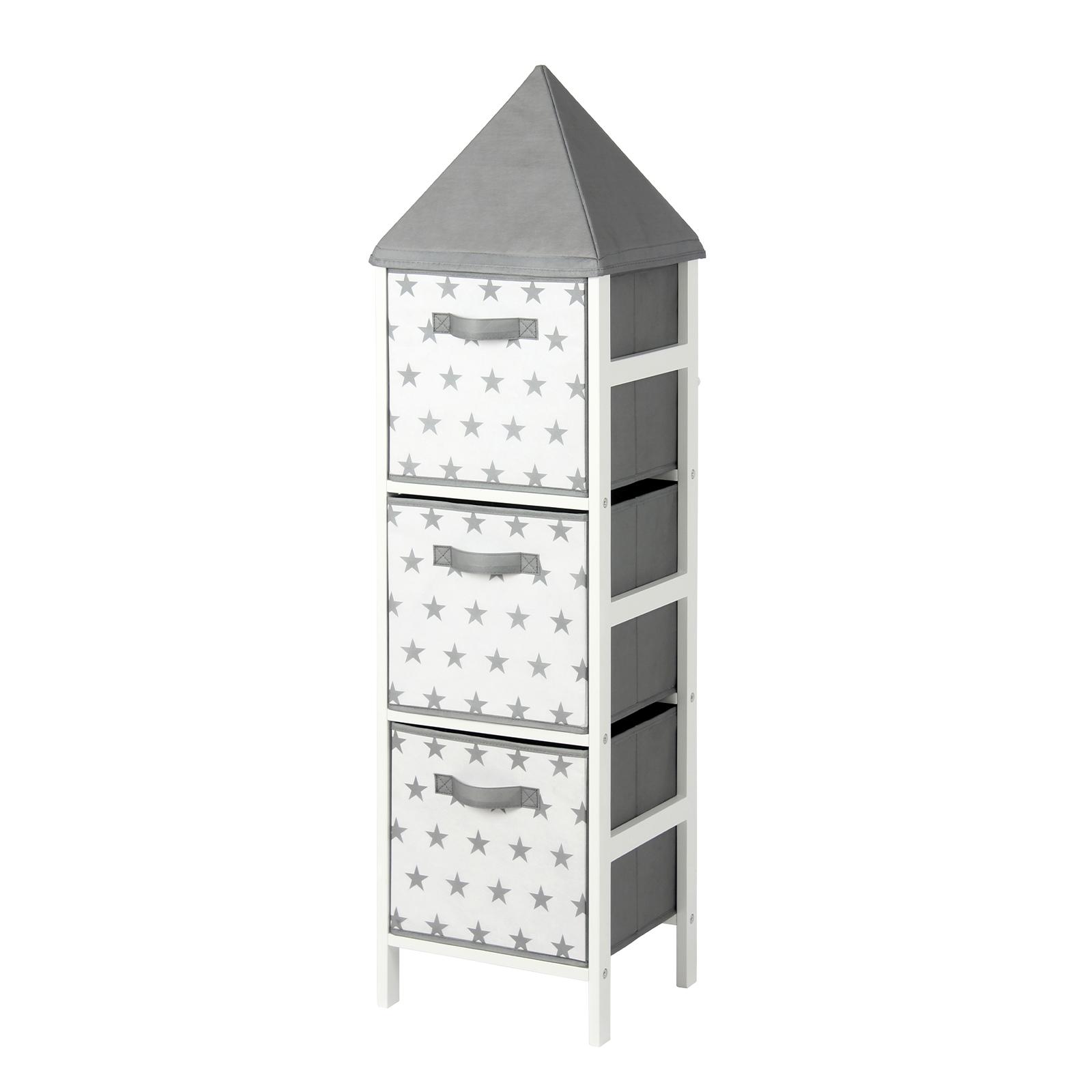 Flexi Storage Kids 32 x 120 x 28cm White And Grey Stars Storage Tower