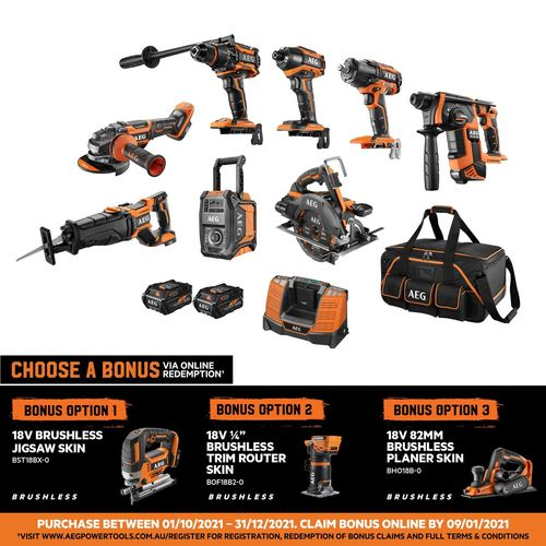 AEG 18V 6.0AH Power Combo Kit With FUSION And FORCE - 8 Piece