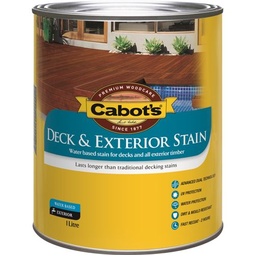 Cabot's 1L Deck & Exterior Stain Water Based - New Rustic Oak