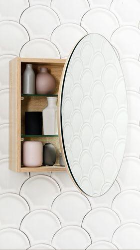 Wall hung bathroom cabinet with mirror door