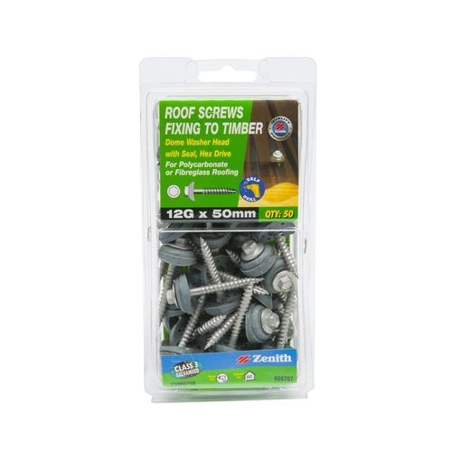 Zenith 12G x 50mm Galvanised Dome Washer Head Roof Screws - 50 Pack