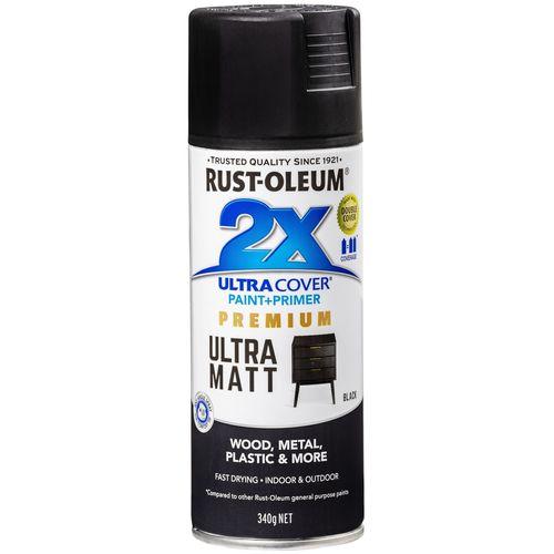 Rust-Oleum 340g 2X Ultra Cover Paint+Prime Matt Black Spray Paint