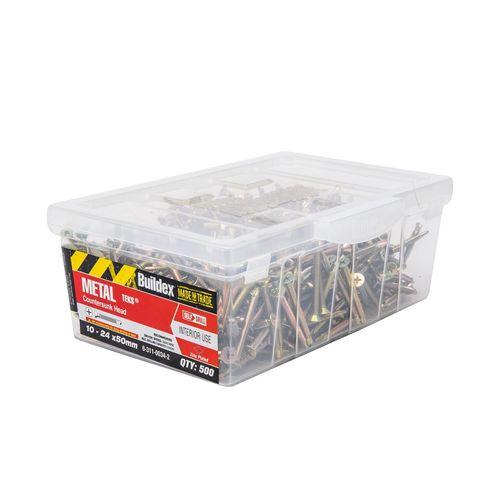 Buildex 10-24 x 50mm Zinc Plated Countersunk Head Metal Tek Screws - 500 Box