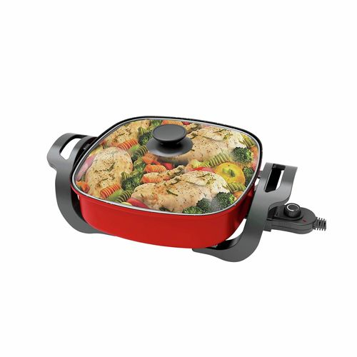 TODO 1500W Electric Frying Pan Skillet Red
