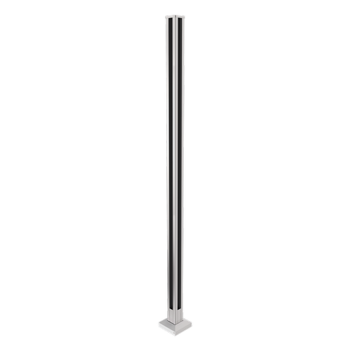 Architects Choice 50 x 50 x 1300mm Silver Glass Fence Flange Corner Post