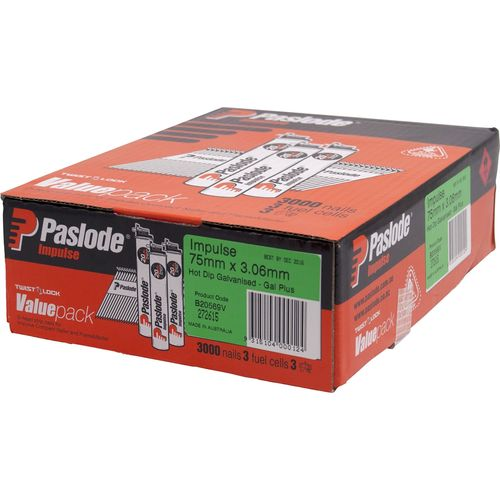 Paslode Impulse Nail 75 x 3.06mm Hot Dipped Galvanised D Head - 3000 Pack