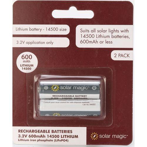 Solar Magic 3.2V 600mAh 14500 Lithium Batteries - 2 Pack