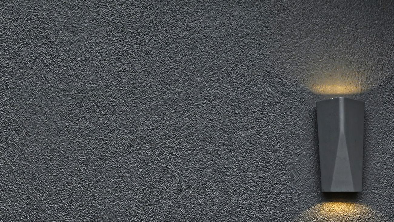 close-up of an outdoor wall light on Hardie™ Fine Texture Cladding