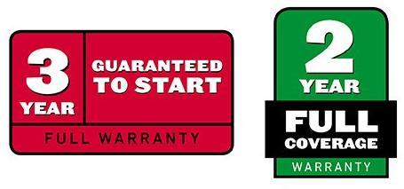 3 year guaranteed to start warranty. 2 year full coverage warranty.