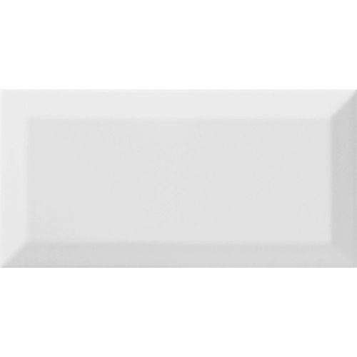 Johnson Tiles 20 x 10cm White Gloss Bevelled Edge Ceramic Wall Tiles - 48 Pack