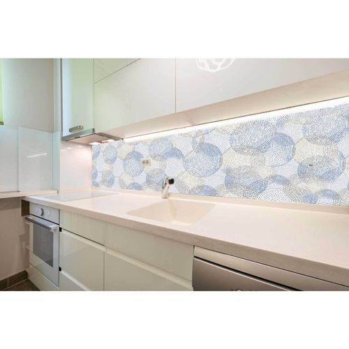 Bellessi 650 x 895 x 5mm Glass Graphic Splashback - Beach Circles