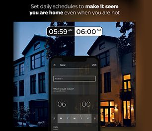 """Title text reads """"Set daily schedules to make it seem you are home when you are not"""". Two images of the same house, once at 5:59am where the lights are off, and one at 6:00am where the lights have turned on."""