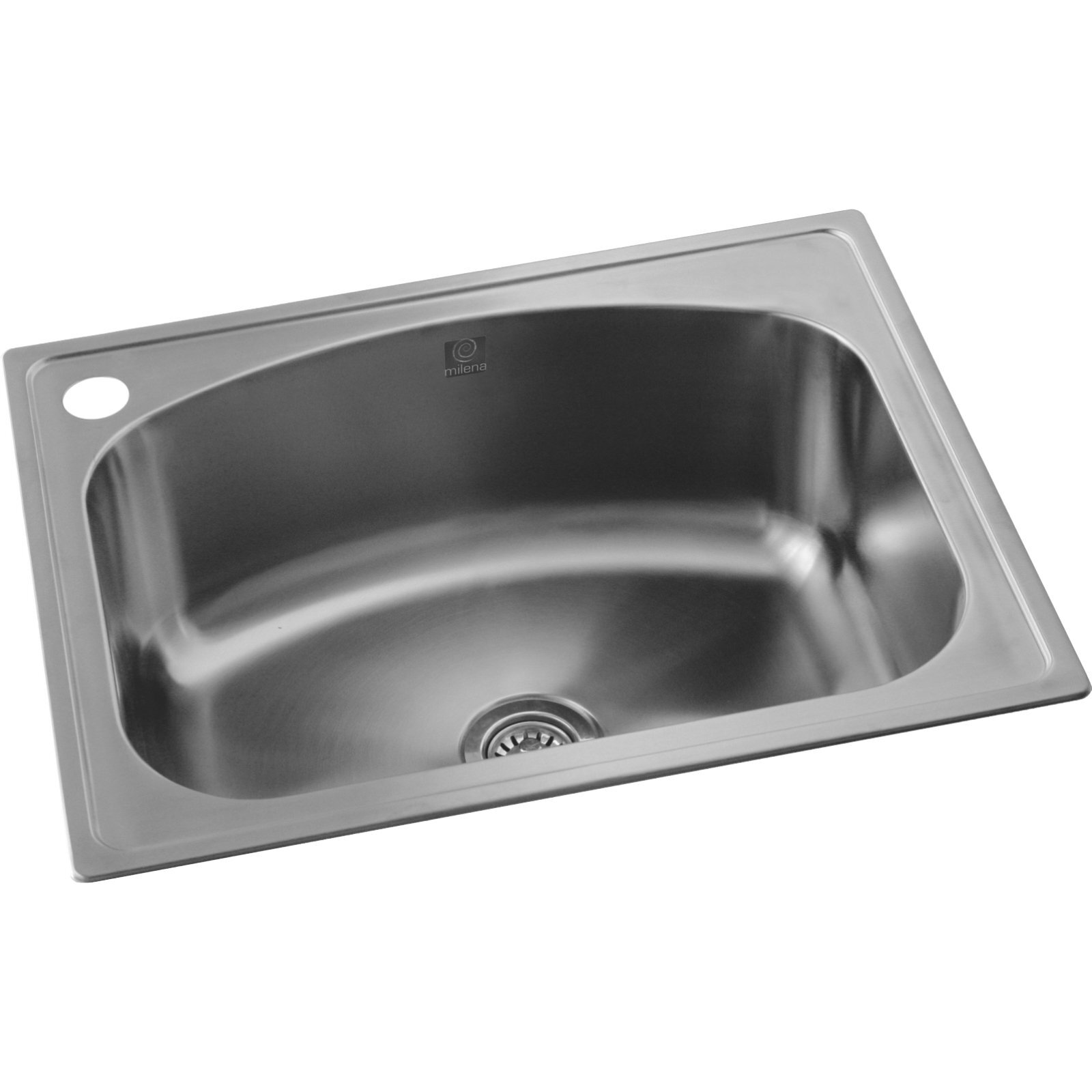 Milena 35L Stainless Steel Euro Inset Laundry Trough With Left Tap Hole