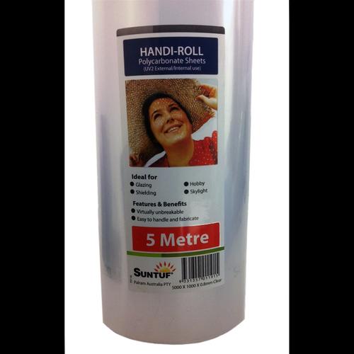 Suntuf 5 x 1m x 0.8mm Clear UV2 Polycarbonate Sheet Handi-Roll