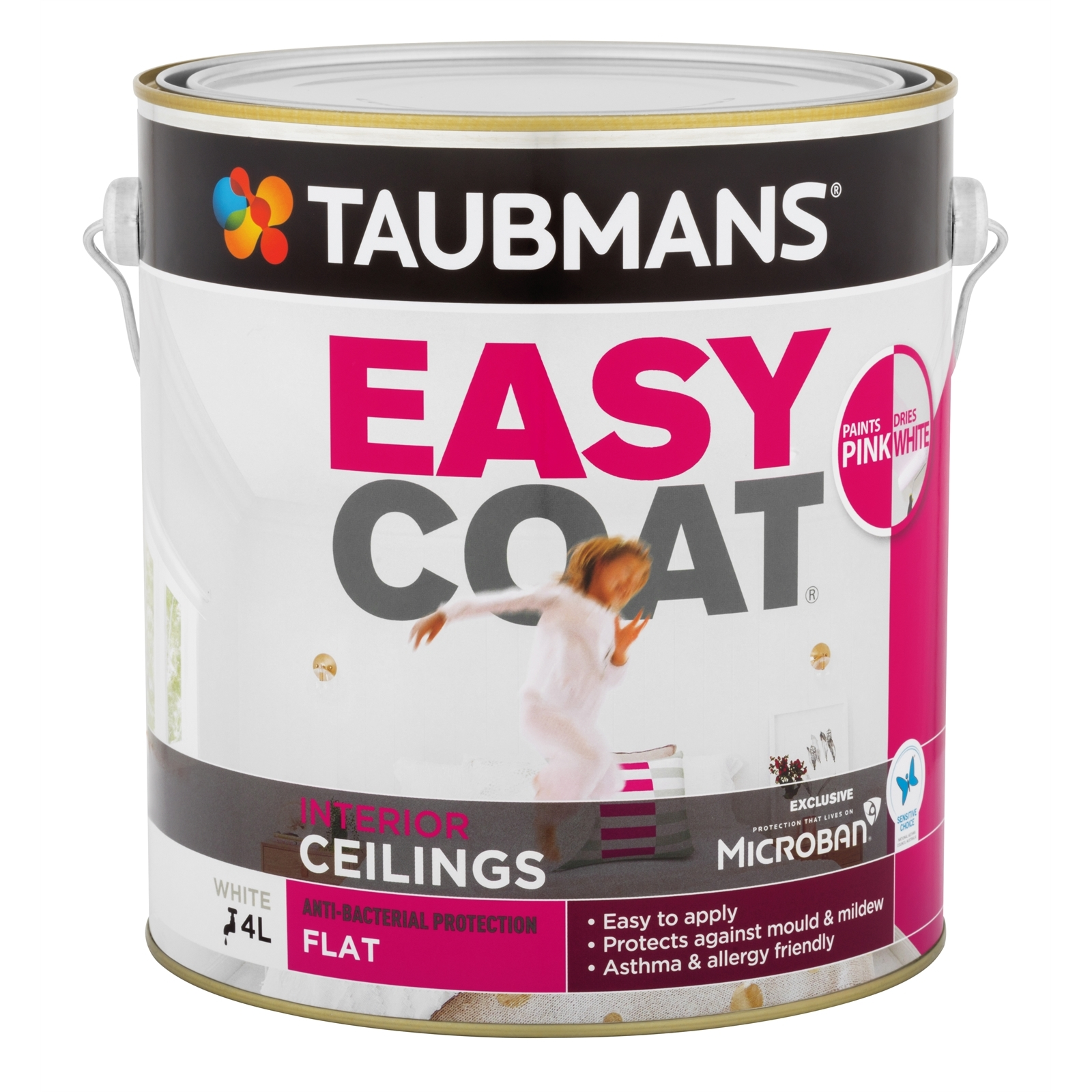 Taubmans Easycoat Flat Pink To White Ceiling Paint - 4L