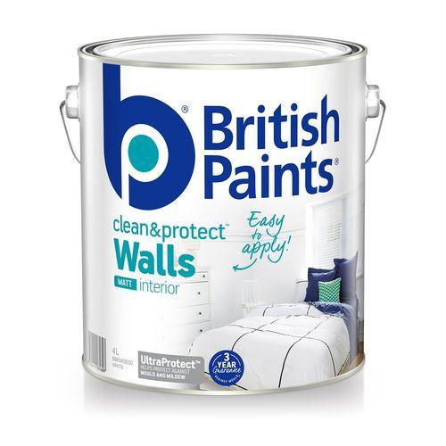 British Paints 4L Clean & Protect Matt White Interior Paint