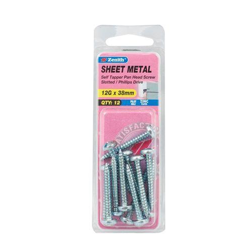 Zenith 12G x 38mm Zinc Plated Sheet Metal Screw - 12 Pack
