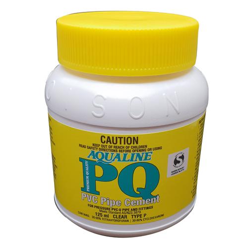 Aqualine 125ml Clear PQ PVC Pipe Cement