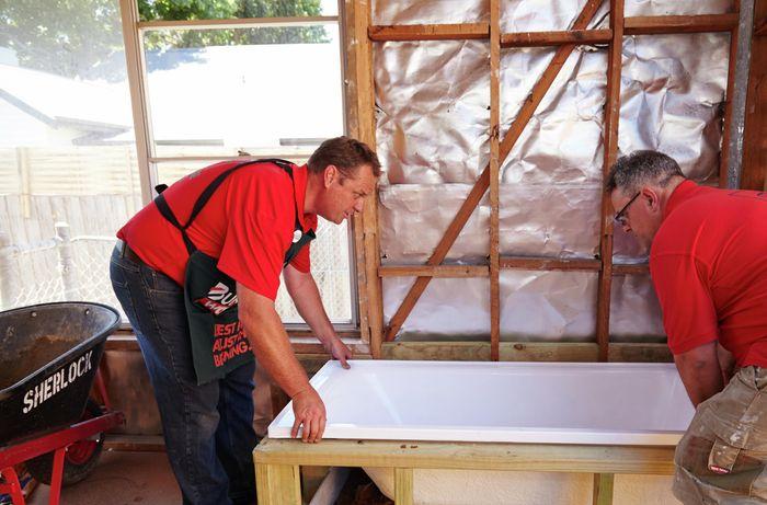 DIY Step Image - How to make a mortar bed for a bath . Blob storage upload.
