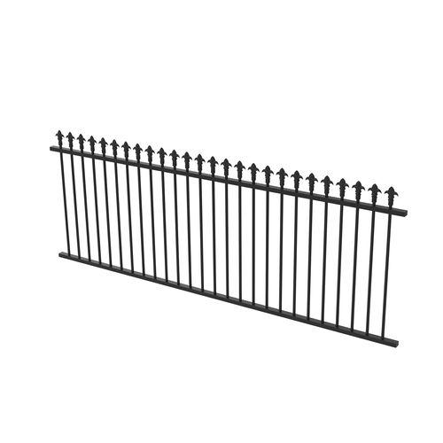 Protector Aluminium 2450 x 900mm J Spear Top Fence Panel - Satin Black