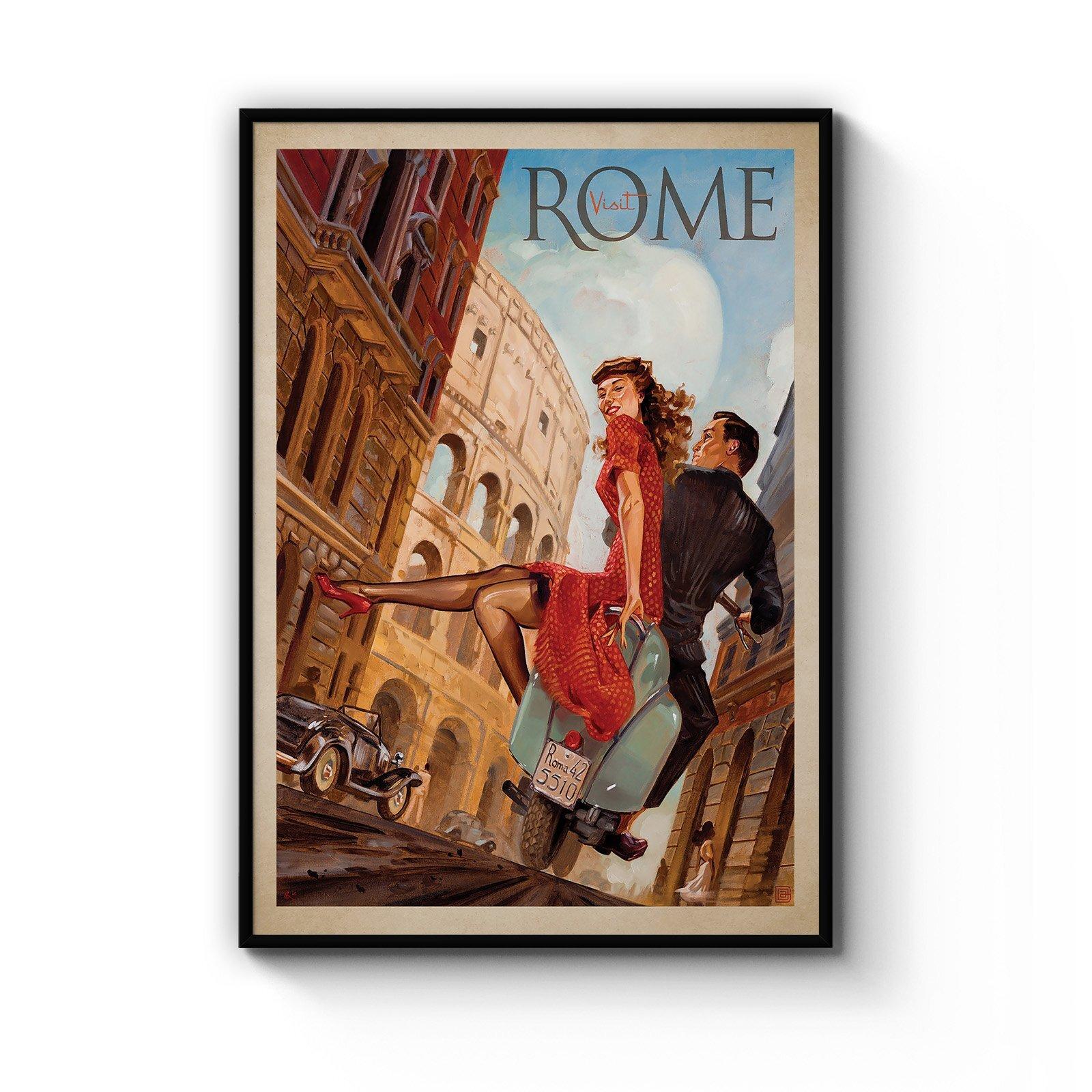 Visit Rome Italy Vintage Italian Romantic Wall Art