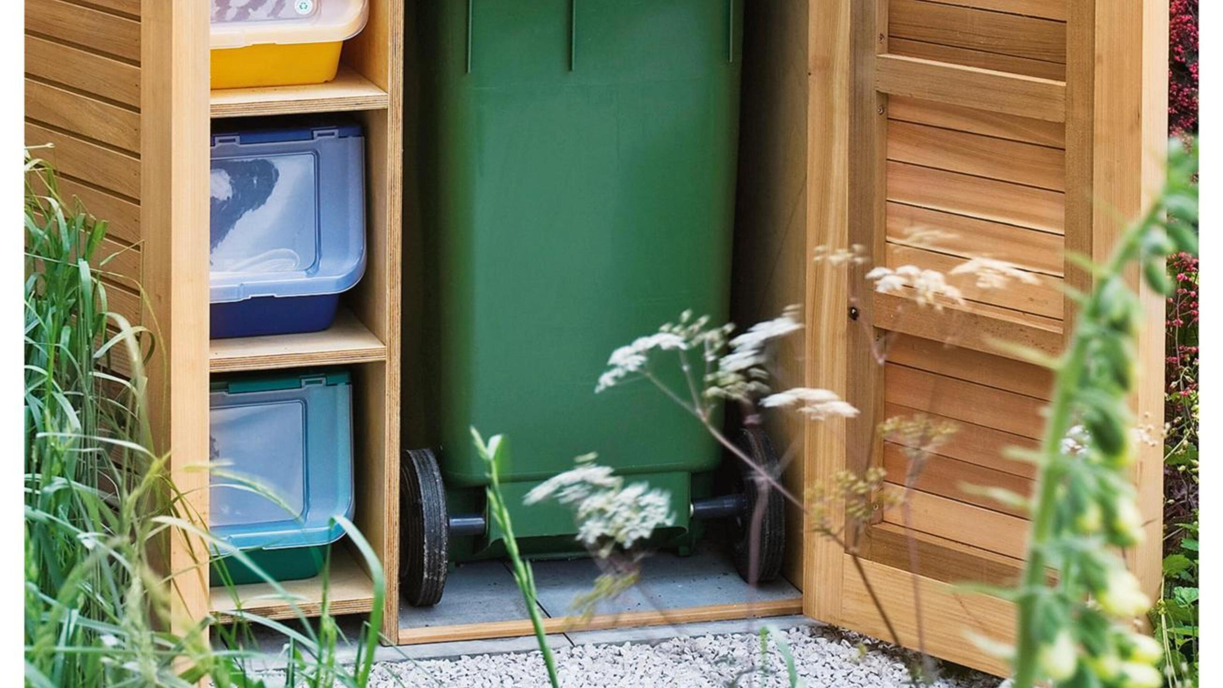 Bins inside a timber storage unit.