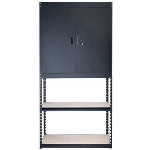 Handy Storage 910 x 1830 x 400mm Black Boltless Combined Shelf & Half Cabinet