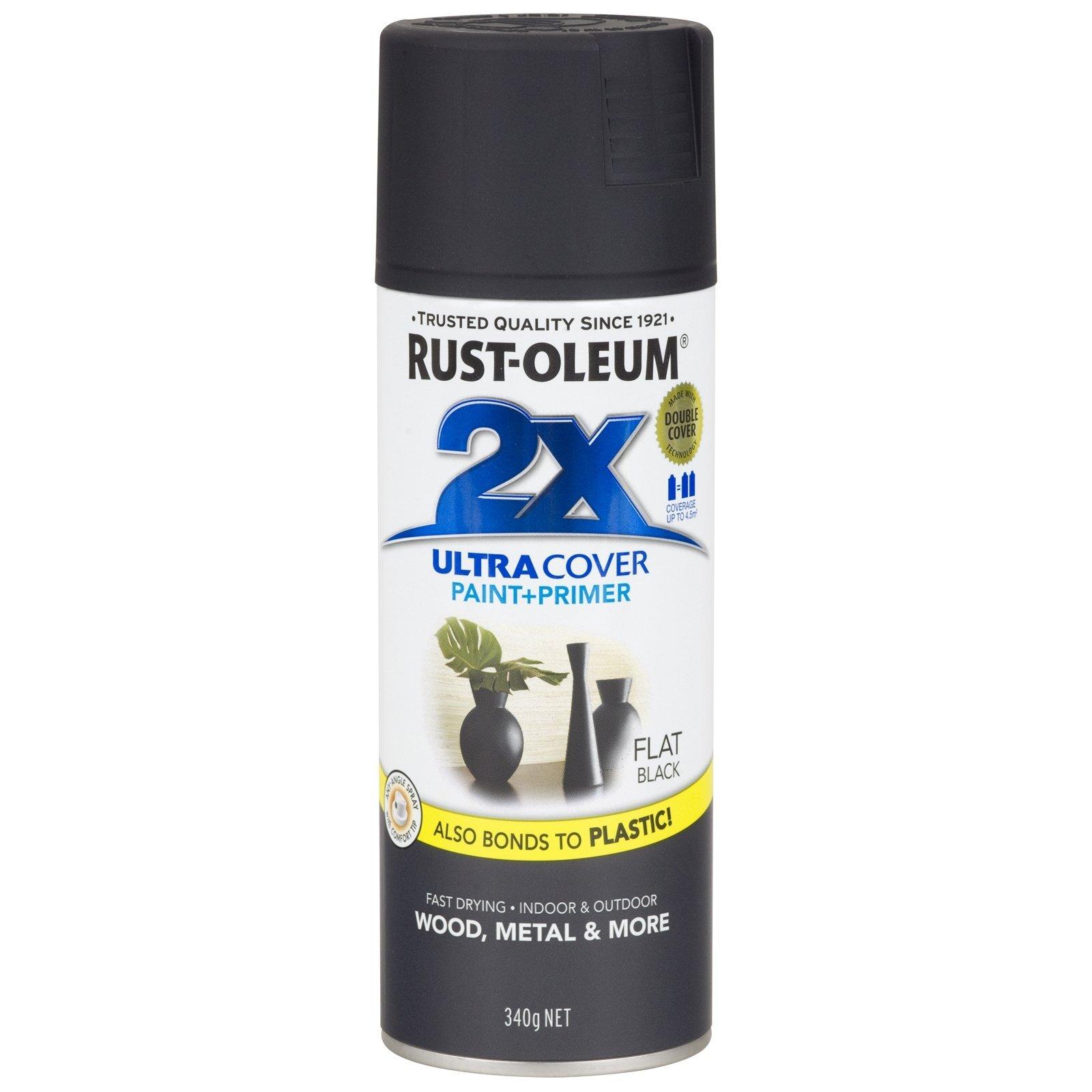 Rust-Oleum 340g 2X Ultra Cover Paint+Prime Flat Black Spray Paint