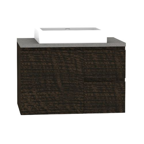 Forme 750mm Mont Albert Wall Hung Vanity With Cement Stone Top And Comet Basin - RH Drawers - Dark Chocolate