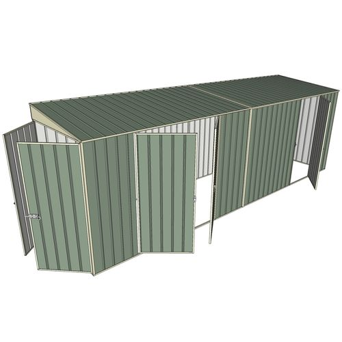 Build-a-Shed 1.5 x 6 x 2m Skillion Double and Single Hinged Side Doors Shed - Green