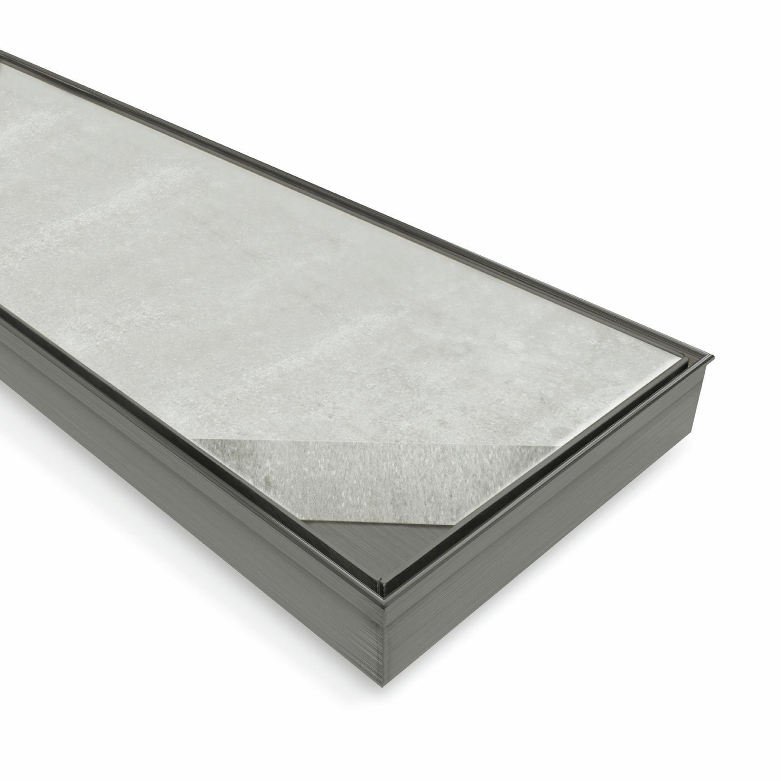 Forme 1200 × 100mm Brushed Gun Metal Grey PVD Stainless Steel Tile Insert Floor Waste