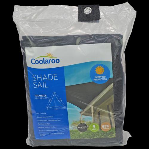 Coolaroo 3.6m Graphite Triangle Everyday Shade Sail