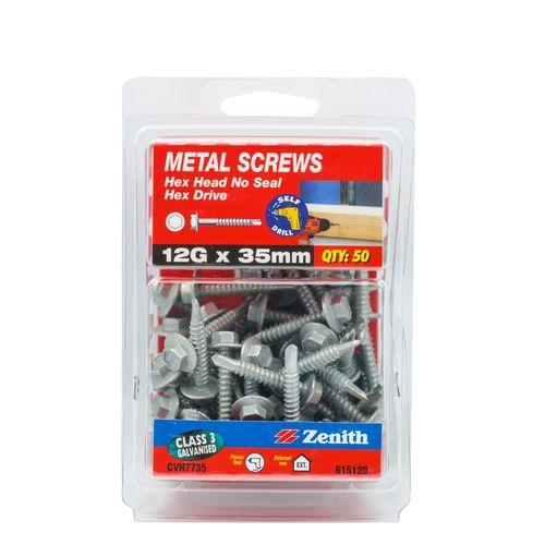 Zenith 12G x 35mm Galvanised Hex Head Metal Screws - 50 Pack