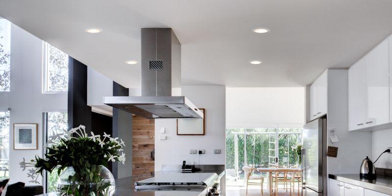 modern kitchen with warm downlights