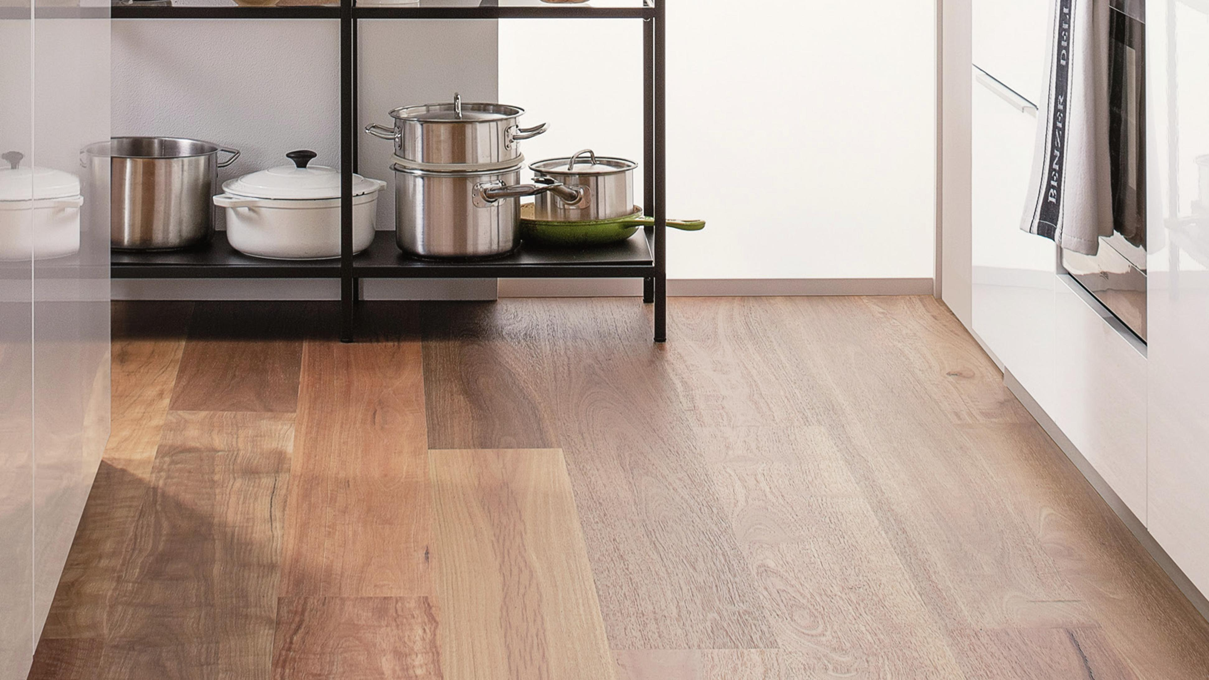 Engineered timber flooring in a kitchen