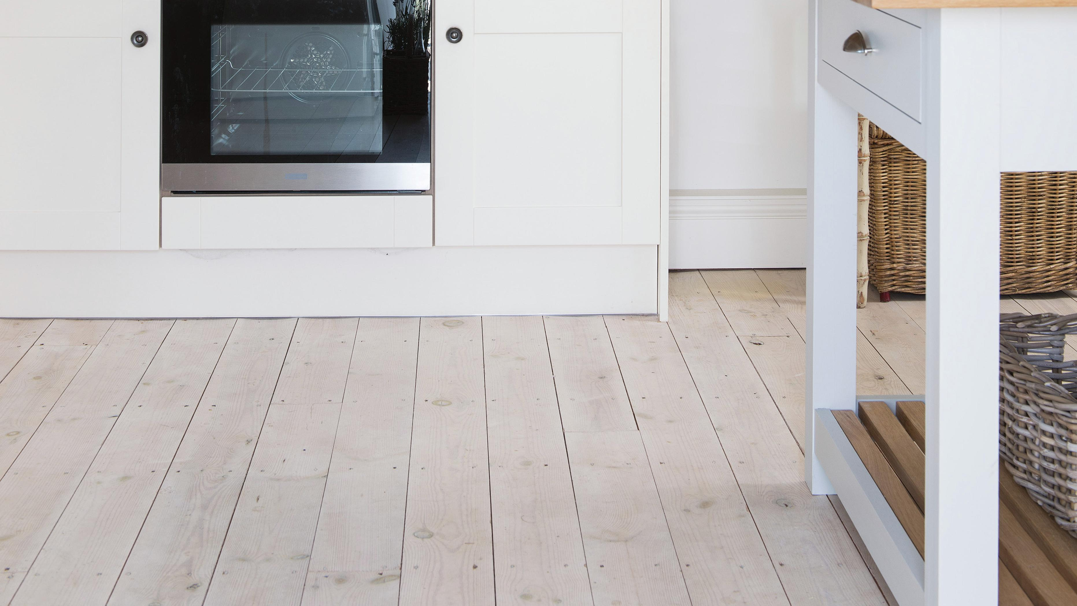 Light timber floors in a kitchen.