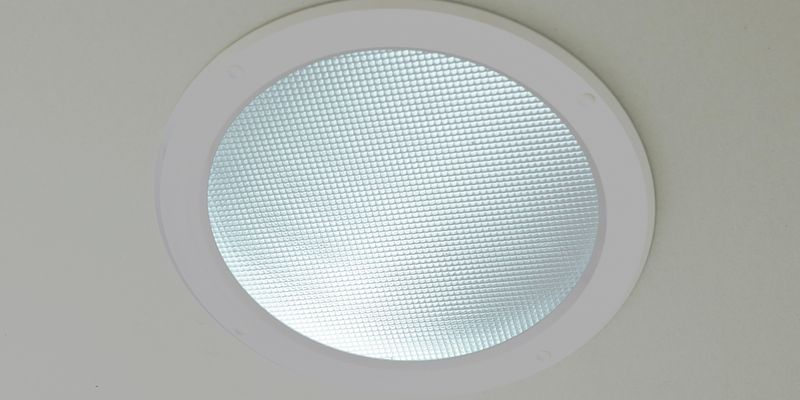 Skylight in a creme ceiling