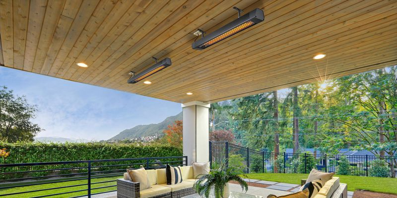 Outdoor lounge area with strip heaters