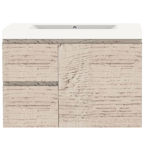 Forme 750mm Gloss Mont Albert Wall Hung Vanity With Polymarble Top - LH Drawers - Light Ash