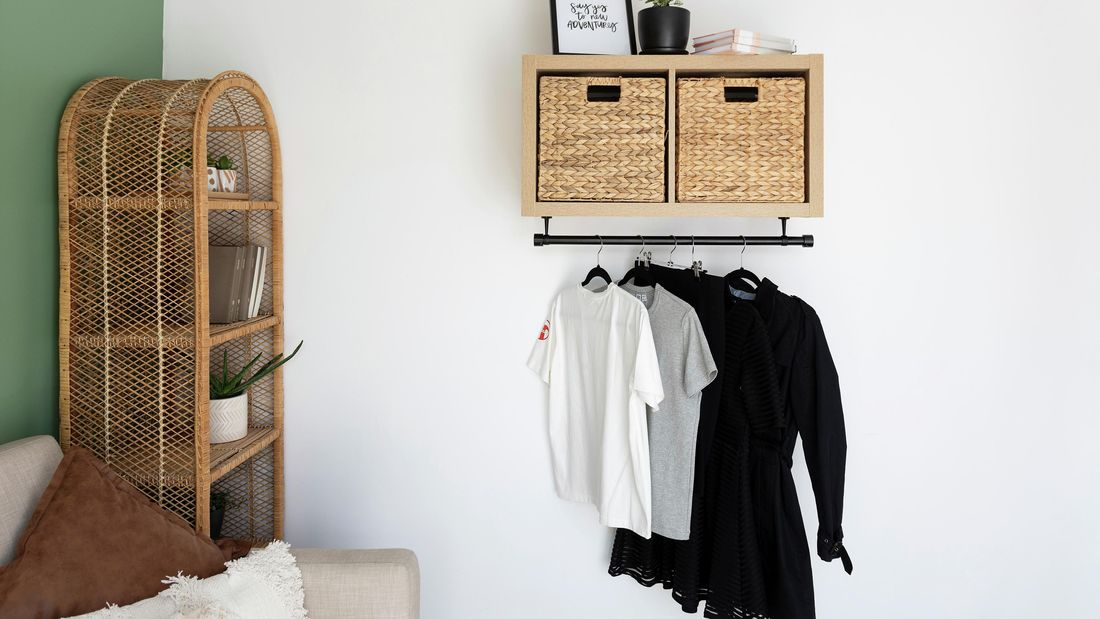 DIY Step Image - How to hang a clothes rail. Blob storage upload.