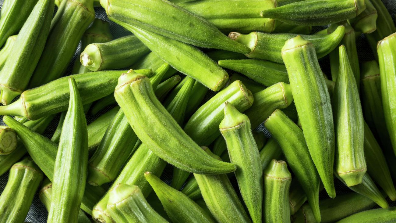 A pile of harvested okra pods