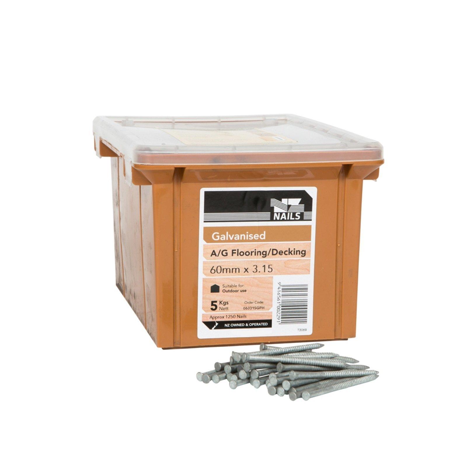 NZ Nails 60 x 3.15mm Galvanised Timber Flooring Nail - 5kg Box